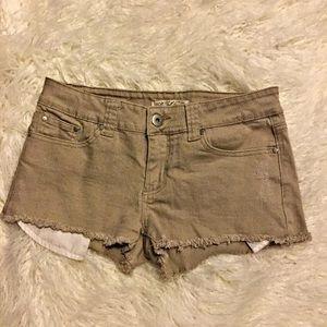 Forever 21 Khaki Denim Destroyed Shorts